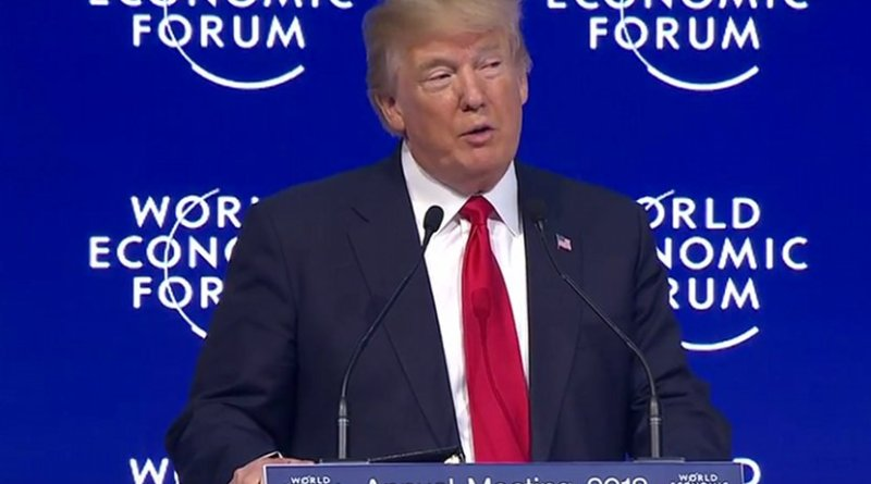 US President Donald J. Trump addresses World Economic Forum 2018 in Davos. Photo Credit: Screenshot White House video.