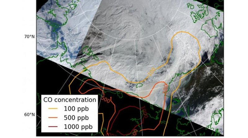 A rare case of forest fire smoke interacting with clouds in the Arctic in July 2012. Contour lines indicate carbon monoxide concentrations in the atmosphere. Credit MODIS/NASA