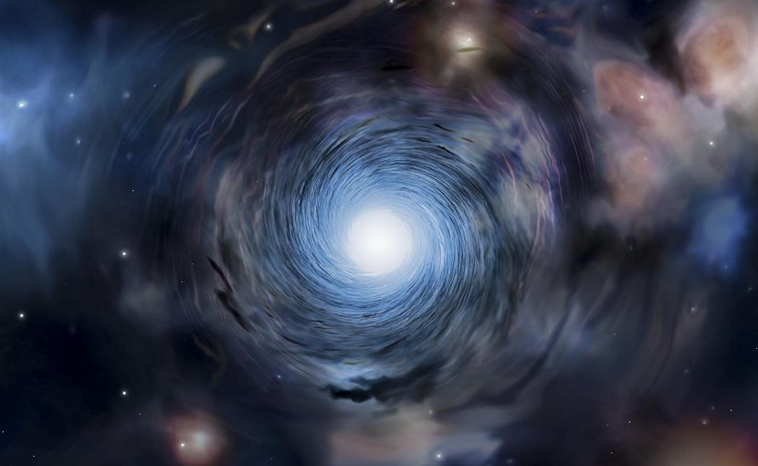 This is an artist's impression of spinning galaxies. Credit Amanda Smith, University of Cambridge