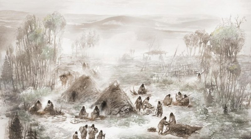 A scientific illustration of the Upward Sun River camp in what is now Interior Alaska. Credit Illustration by Eric S. Carlson in collaboration with Ben A. Potter