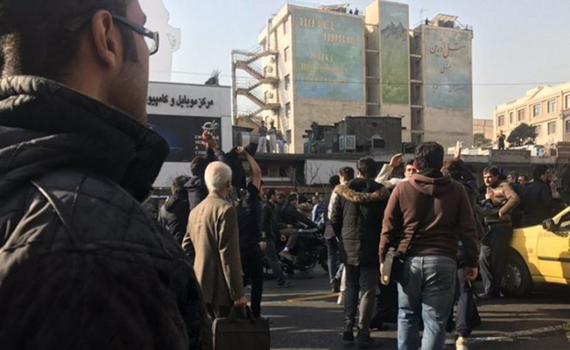 December 30, 2017 protests in Tehran, Iran.