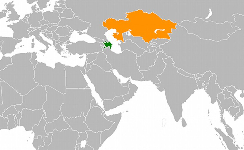 Locations of Azerbaijan (green} and Kazakhstan (orange). Source: Wikipedia Commons.