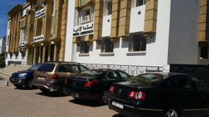 Cars occupy illegally the sidewalk near the Administrative Tribunal in Hassan, Rabat (Photo: M. Chtatou)