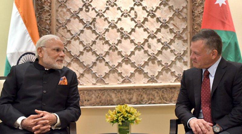 India's Prime Minister, Shri Narendra Modi with the King of Jordan His Majesty Abdullah II Bin Al-Hussein, at Amman, Jordan. Photo Credit: India PM Office.