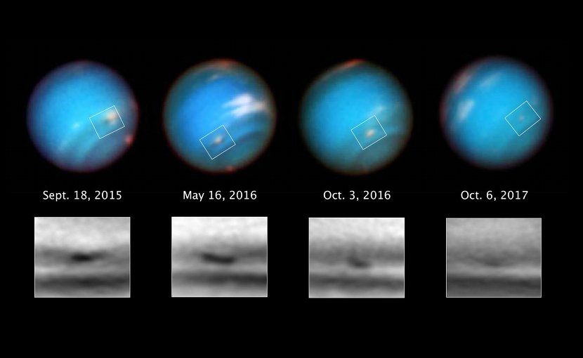 This series of Hubble Space Telescope images taken over 2 years tracks the demise of a giant dark vortex on the planet Neptune. The oval-shaped spot has shrunk from 3,100 miles across its long axis to 2,300 miles across, over the Hubble observation period. Credit Credits: NASA, ESA, and M.H. Wong and A.I. Hsu (UC Berkeley)