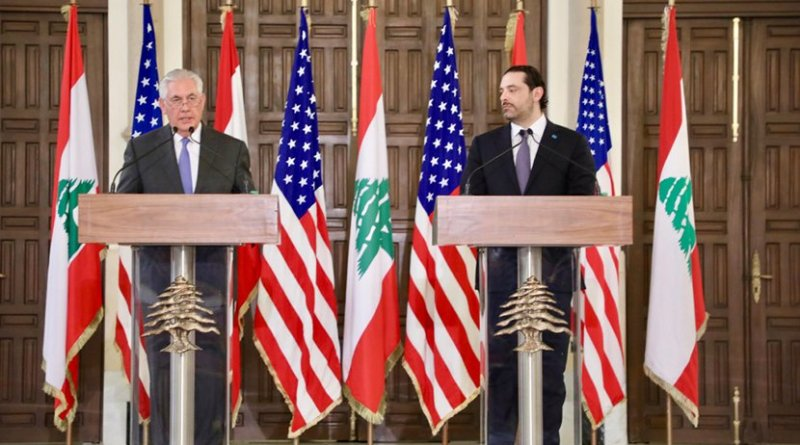 U.S. Secretary of State Rex Tillerson participates in joint press availability with Lebanese Prime Minister Saad Al Hariri at the Grand Serail in Beirut, Lebanon on February 15, 2018. [State Department photo/ Public Domain]