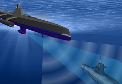 A rendering of the Continuous Trail Unmanned Vessel (ACTUV). Credit Defense Advanced Research Projects Agency (DARPA), Wikipedia Commons.