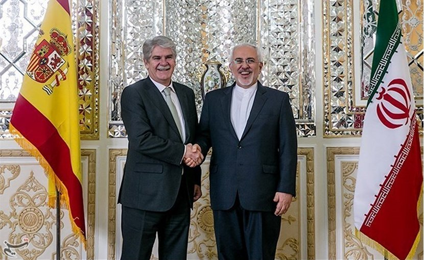 Spain's Foreign Minister Alfonso Dastis and Iranian Foreign Minister Mohammad Javad Zarif in Tehran. Photo by Foad Ashtari, Tasnim News Agency.