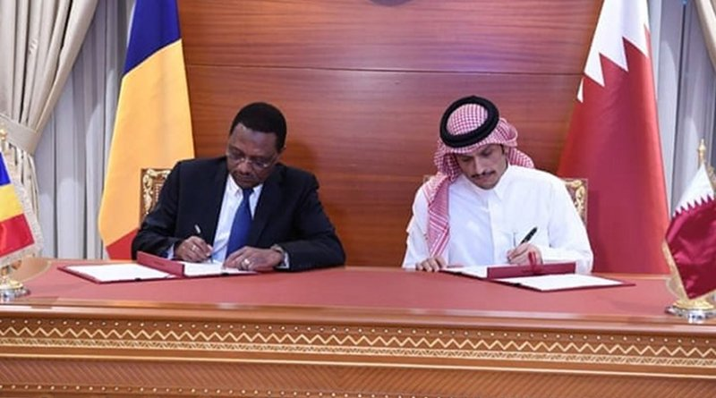 Qatar's Deputy Prime Minister and Foreign Minister Sheikh Mohammed bin Abdulrahman Al-Thani. Minister of Foreign Affairs, African Integration and International Cooperation of the Republic of Chad Cherif Mahamat Zene. Photo Credit: Qatar Foreign Ministry.