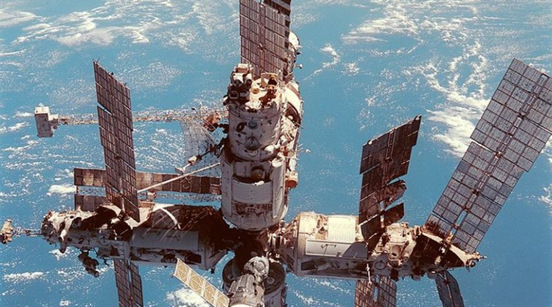 Russia's Mir space station is backdropped over the blue and white planet Earth. Photo by NASA, Wikimedia Commons.