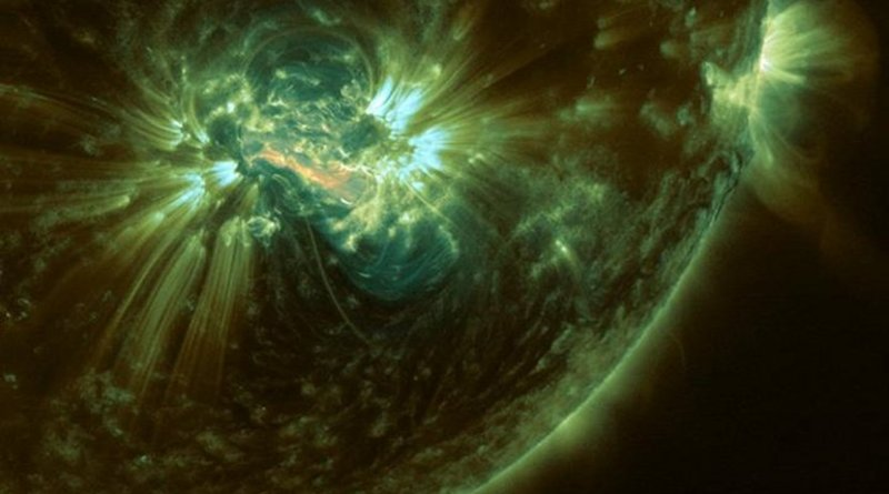 On Oct. 24, 2014, NASA's SDO observed an X-class solar flare erupt from a Jupiter-sized sunspot group. Credit Tahar Amari et al./Center for Theoretical Physics/École Polytechnique/NASA Goddard/Joy Ng