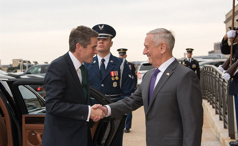 US Defense Secretary James N. Mattis greets British Defense Secretary Gavin Williamson at the Pentagon, Feb. 1, 2018. DoD photo by Army Sgt. Amber I. Smith