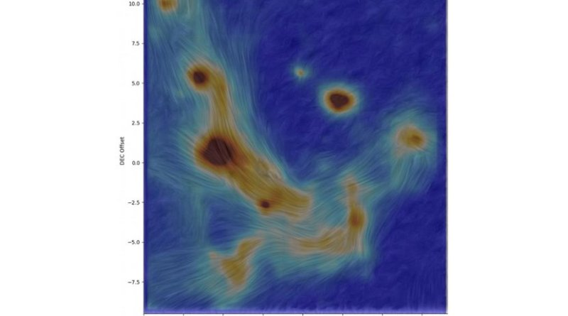 This image is a new high-resolution map of the magnetic field lines in gas and dust swirling around the supermassive black hole at the center of our galaxy. Credit Oxford University/Royal Astronomical Society/UTSA