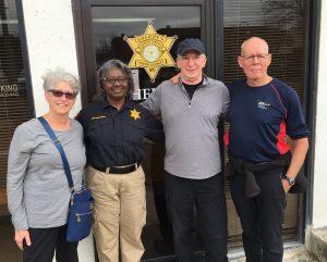 L-R: Barbara Morganstern Sammons, Deputy Jackie Hudson, Warren Mersereau, Tito Craige at Yazoo County Sheriff's Office