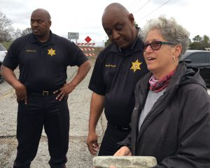 Chief Deputy Head and Sheriff Sheriff with Barbara Morganstern Sammons at 1-Mile Hill