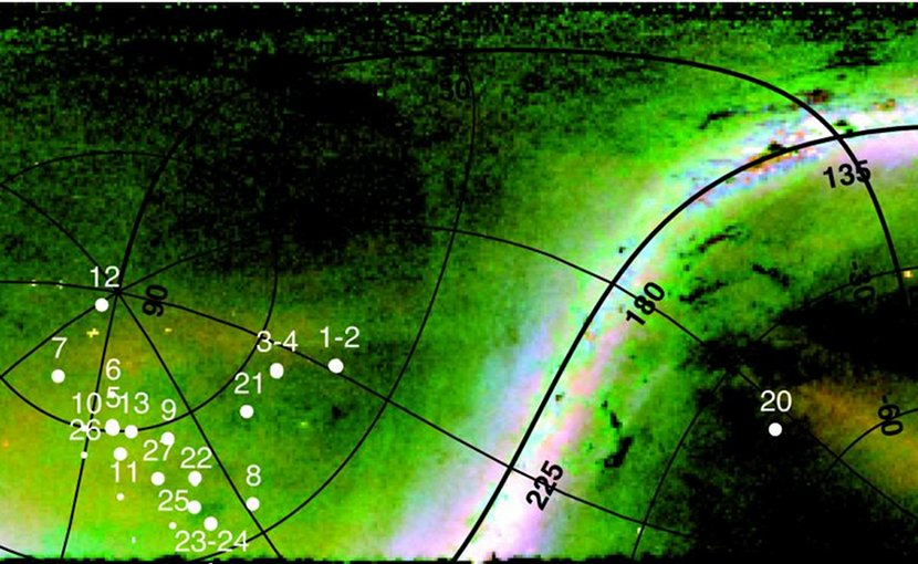 Distant Milky Way halo giants marked on a Pan-STARRS1 map. Location of our targets overlaid on a RGB rendering of the distribution of Milky Way halo stars. Credit Giuseppina Battaglia