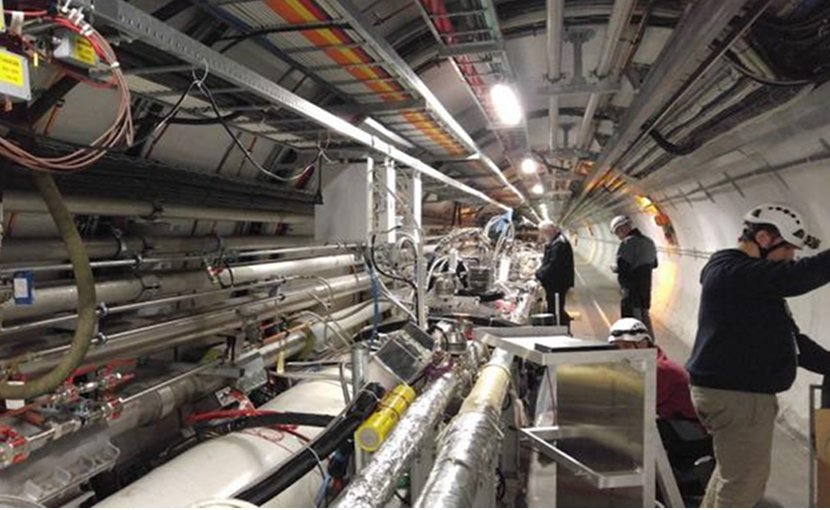 View of the tunnel where the proton detectors are located. Credit TOTEM collaboration