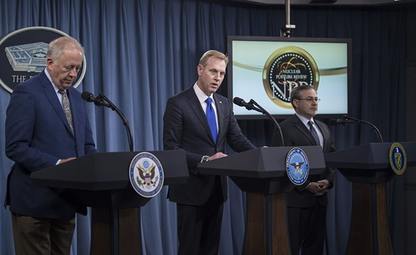 Deputy Defense Secretary Patrick M. Shanahan, center, Undersecretary of State for Political Affairs Thomas A. Shannon Jr., left, and Deputy Energy Secretary Dan Brouillette brief the press on the 2018 Nuclear Posture Review at the Pentagon, Feb. 2, 2018. DoD photo by Navy Petty Officer 1st Class Kathryn E. Holm