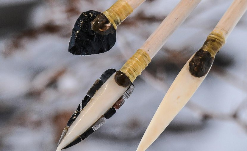 University of Washington researchers re-created ancient projectile points to test their effectiveness. From left to right: stone, microblade and bone tips. Credit Janice Wood