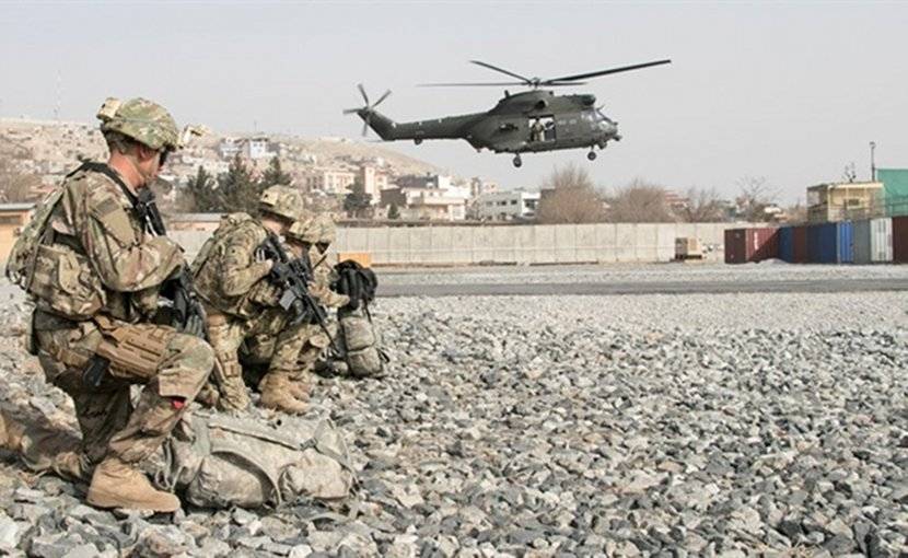 U.S. and British coalition partners and Afghan security forces train together in an aerial reaction force exercise utilizing British helicopter assets at Camp Qargha in Kabul, Afghanistan, Jan. 16, 2018. Army photo by Capt. Leanna Litsch