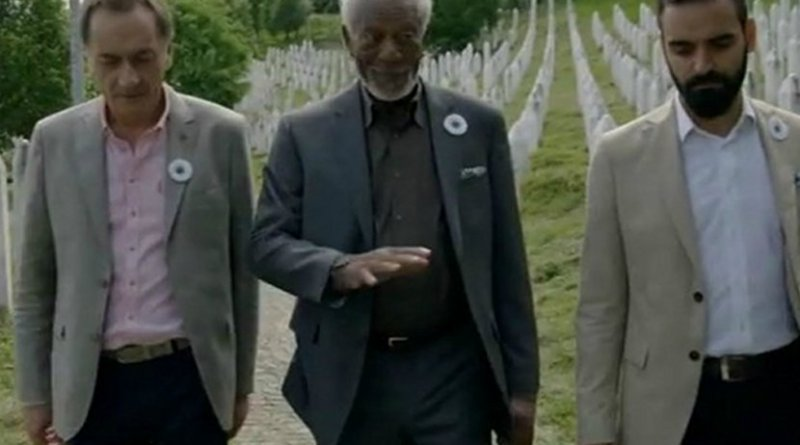 Morgan Freeman (centre) at the Srebrenica memorial. Photo: National Geographic Channel/screenshot.