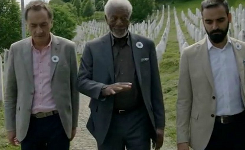 Morgan Freeman (centre) at the Srebrenica memorial. Photo: National Geographic Channel/screenshot.