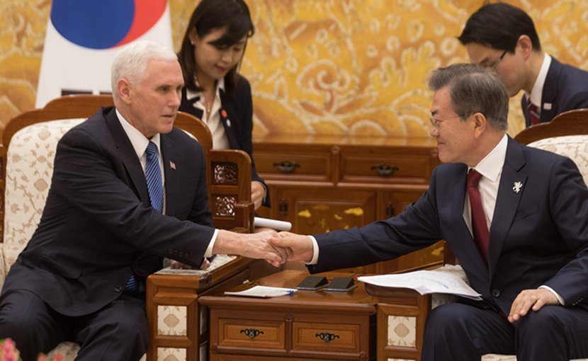 US Vice President Mike Pence speaks with South Korean President Moon Jae-in during a meeting at the presidential office Blue House in Seoul. Photo Credit: VP Pence Twitter