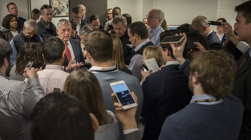 Defense Secretary James N. Mattis speaks with reporters at the Pentagon. DoD photo by Air Force Tech Sgt. Vernon Young Jr.
