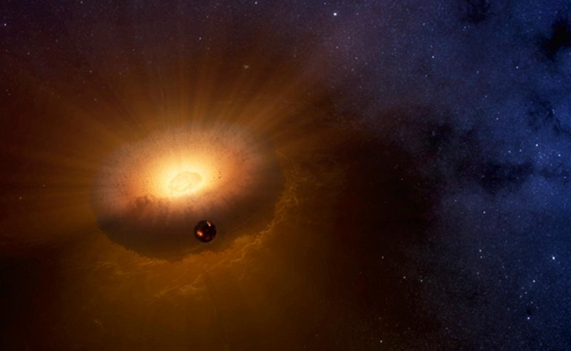 This artist's rendering shows the hot, molten Moon emerging from a synestia, a giant spinning donut of vaporized rock that formed when planet-sized objects collided. The synestia is in the process of condensing to form the Earth. This new model for the Moon's origin answers outstanding questions about how the Moon's composition compares to that of Earth. Credit Image by Sarah Stewart/UC Davis based on NASA rendering.