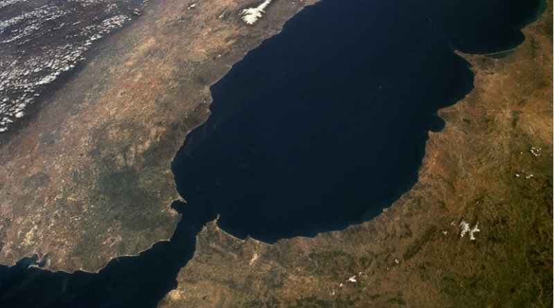 The Strait of Gibraltar as seen from space. The Iberian Peninsula is on the left and North Africa on the right. Photo Credit: NASA.