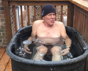 The training included submersion in ice water. Accordingly, the author bought 10-pound bags of ice, threw them in the horse trough and tried to grow an extra layer of fat. Photo Credit: Tito Craige.