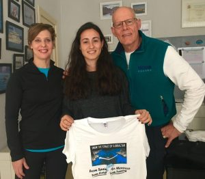 At the ACNEG office in Tarifa. L-R: Lesley Fanning, Laura Gutierrez (ACNEG Director) and author before the swim. Photo Credit: Tito Craige.