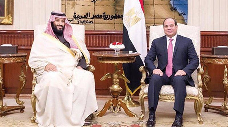 Crown Prince Mohammed bin Salman, left, with Egyptian President Abdel Fattah El-Sisi in Cairo on Sunday. (SPA)