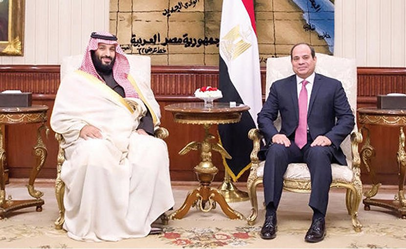 Crown Prince Mohammed bin Salman, left, with Egyptian President Abdel Fattah El-Sisi in Cairo on Sunday. (SPA)