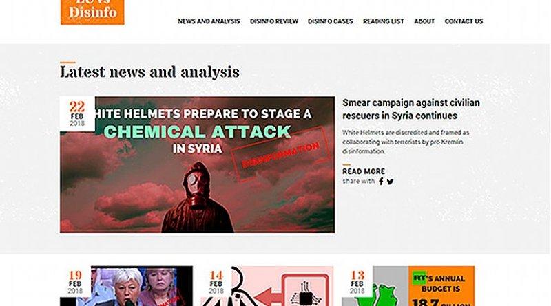 Screenshot of EU vs Disinfo website, a campaign run by the European External Action Service East Stratcom Task Force.