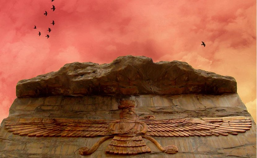 Zoroastrian image of Faravahar carved in stone at Persepolis, Iran. Photo by Roodiparse, Wikimedia Commons.