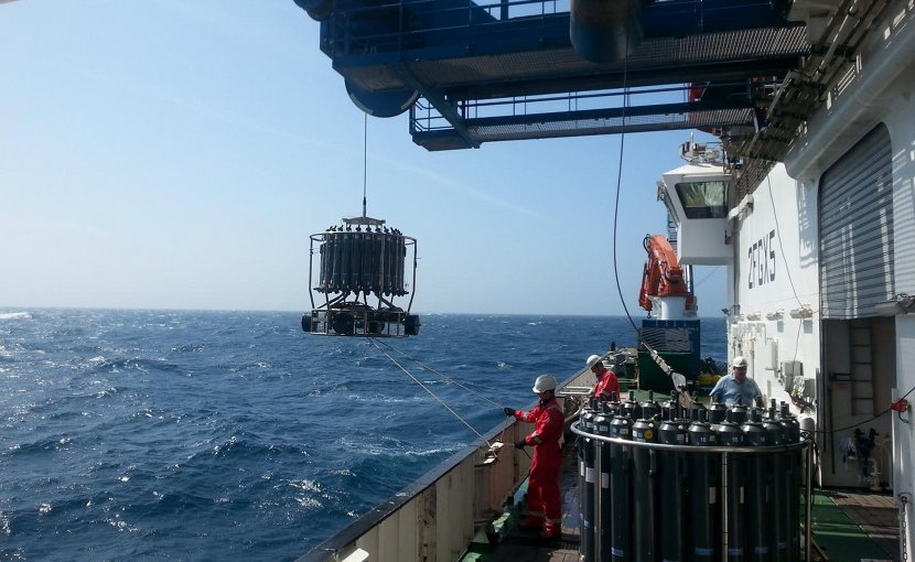 This is a water sampling in the Celtic Sea with a clean CTD System. Credit Photo: D. Rusiecka, GEOMAR.