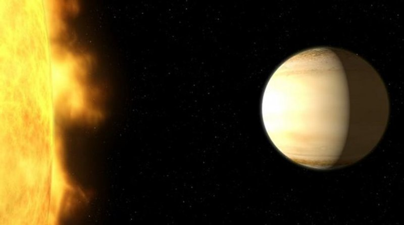 A team of British and American astronomers used data from several telescopes on the ground and in space -- among them the NASA/ESA Hubble Space Telescope -- to study the atmosphere of the hot, bloated, Saturn-mass exoplanet WASP-39b, about 700 light-years from Earth. The analysis of the spectrum showed a large amount of water in the exoplanet's atmosphere -- three times more than in Saturn's atmosphere. Credit NASA, ESA, and G. Bacon (STScI)
