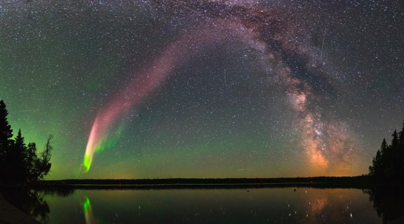 This is STEVE and the Milky Way at Childs Lake, Manitoba, Canada. The picture is a composite of 11 images stitched together. Credit Courtesy of Krista Trinder