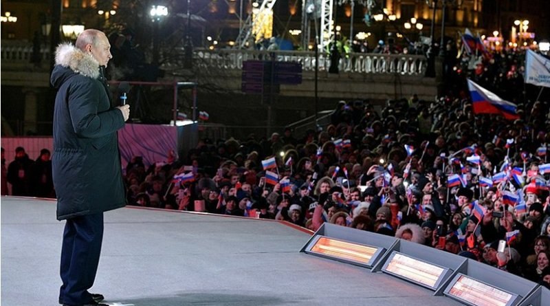 Russia's Vladimir Putin addresses rally on Manezhnaya Square in Moscow. Photo Credit: Kremlin.ru
