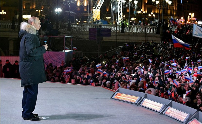 Russia's Vladimir Putin addresses rally on Manezhnaya Square in Moscow. Photo Credit: Kremlin.ru
