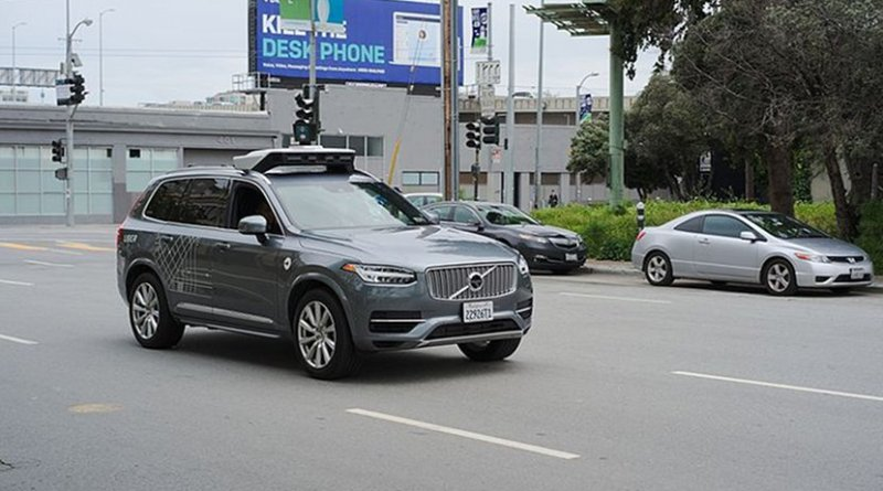Uber autonomous vehicle Volvo XC90 in San Francisco. Photo by Dllu, Wikipedia Commons.
