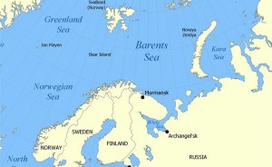 Location of the Barents Sea north of Russia and Norway. Source: Wikipedia Commons.