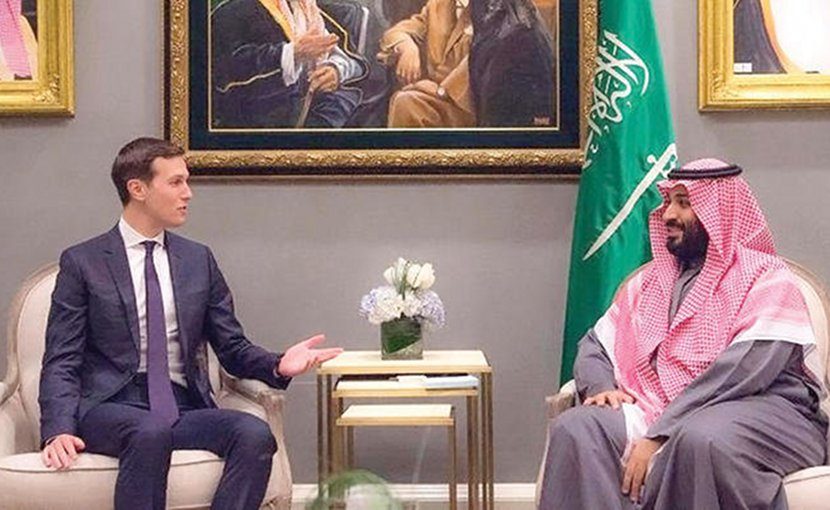 Saudi Crown Prince Mohammed bin Salman holds talks with the White House Senior Adviser Jared Kushner. (SPA)