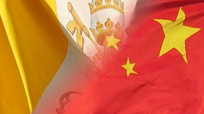 Flags of the Vatican and China.
