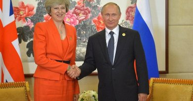 Prime Minister of Great Britain Theresa May with Russia's President Vladimir Putin. Photo Credit: Kremlin.ru