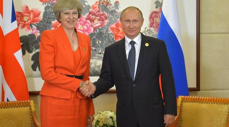 Prime Minister of Great Britain Theresa May with Russia's President Vladimir Putin. Photo Credit: Kremlin.ru