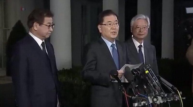 Republic Of Korea National Security Advisor Chung Eui-Yong at White House announcing future meeting of US President Donald Trump and North Korea'sKim Jung Un. Photo Credit: VOA screenshot.