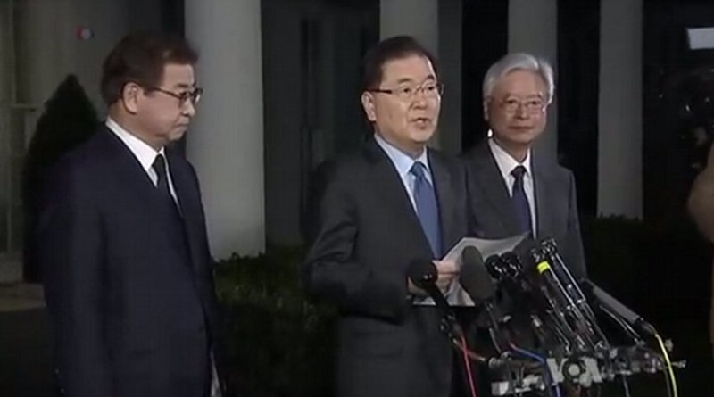 Republic Of Korea National Security Advisor Chung Eui-Yong at White House announcing future meeting of US President Donald Trump and North Korea'sKim Jung Un. Photo Credit: VOA screenshot.