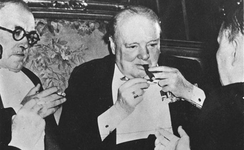 Winston Churchill with a cigar. Photo Credit: German Federal Archives, WIkimedia Commons.